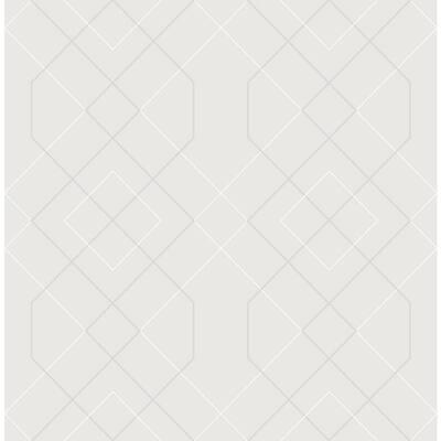 Ballard Silver Geometric Silver Wallpaper Sample
