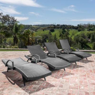 Miller Grey 4-Piece Wicker Adjustable Outdoor Chaise Lounge with Armrest