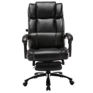 27.2 in. Width Big and Tall Black Bonded Leather Executive Chair with Adjustable Height