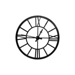 Black Metal Framed Wall Clock