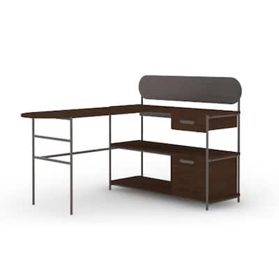 Radial 59.606 in. Umber Wood L-Shaped Desk
