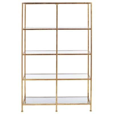 62.25 in. Gold Leaf Metal 4-shelf Double Accent Bookcase with Open Back