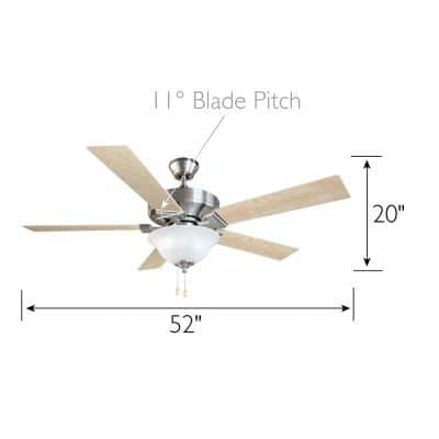 Ironwood 52 in. Satin Nickel Ceiling Fan with Light Kit