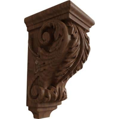 4 in. x 3-1/2 in. x 7 in. Unfinished Wood Mahogany Small Acanthus Corbel