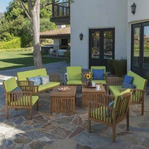 Thalia Brown 8-Piece Wood Patio Conversation Set with Light Green Cushions