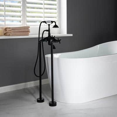 Malibu 3-Handle Claw Foot Freestanding Tub Faucet with Hand Shower in Matte Black