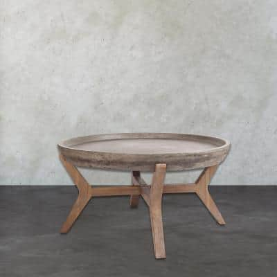 Tonga 32 in. Waxed Concrete/Silver Brushed Woodtone Medium Round Stone Coffee Table