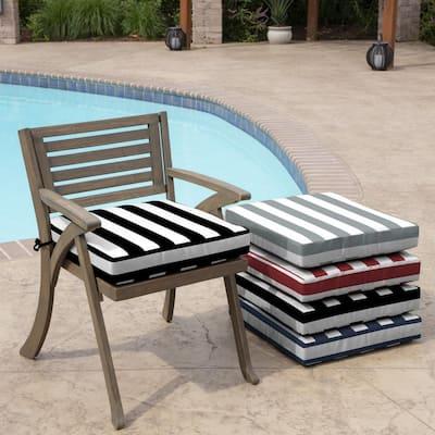 Black Cabana Stripe Square Outdoor Seat Cushion