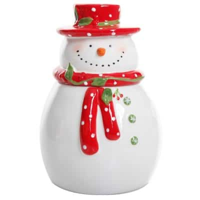 Jolly Plenitude Snowman Stoneware Cookie Jar