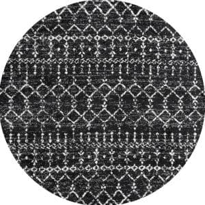 Moroccan Hype Boho Vintage Diamond Black/Ivory 5 ft. Round Area Rug