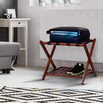 26.75 in. W x 16 in. D Walnut New Solid Wood Luggage Rack with Shelf