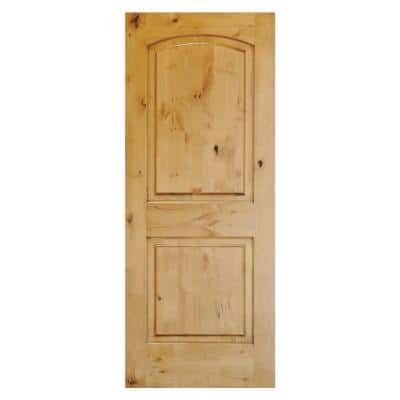 36 in. x 80 in. Rustic Knotty Alder 2-Panel Top Rail Arch Solid Unfinished Wood Front Door Slab
