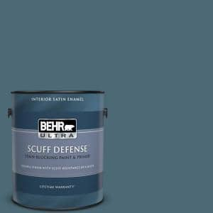 Behr Ultra 1 Gal S480 6 Poseidon Extra Durable Satin Enamel Interior Paint Primer 775301 The Home Depot
