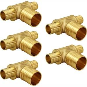 3/4 in. x 3/4 in. x 1 in. Brass PEX Barb Reducing Tee Pipe Fittings (5-Pack)