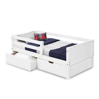 Panel White Twin Size Daybed with Front Guardrail and Drawers