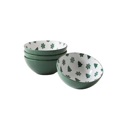 Pine Valley Green Stoneware Dessert Bowl (Set of 4)
