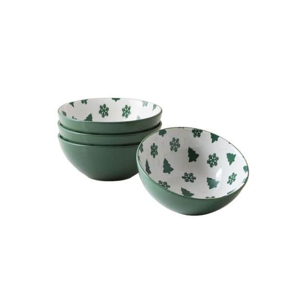 Thomson Pottery Pine Valley Green Stoneware Dessert Bowl Set Of 4 205108 The Home Depot