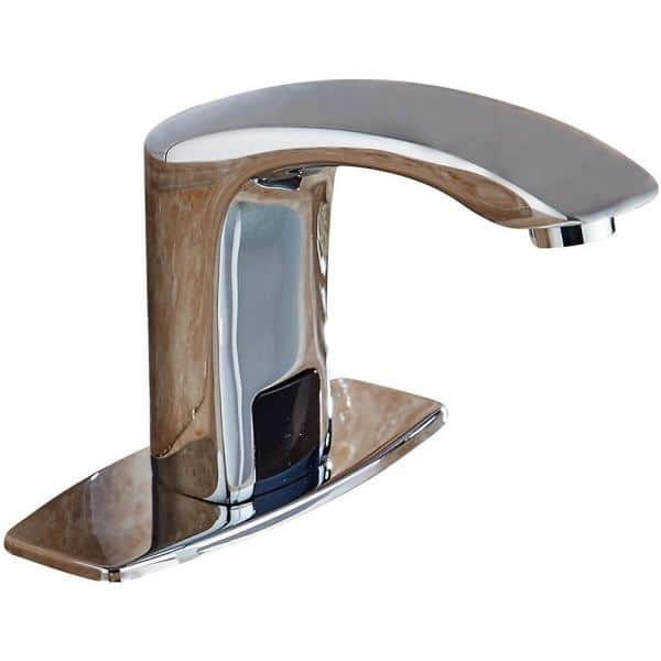 Bwe Automatic Sensor Touchless Bathroom Sink Faucet With Deck Plate In Polished Chrome A 918106 C The Home Depot