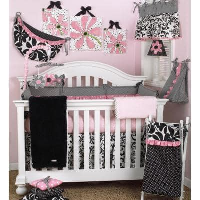 Girly Pink and White Zebra Cotton Fitted Crib Sheet