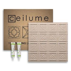 Lafayette 2 ft. x 2 ft. Glue Up Vinyl Ceiling Tile and Backsplash Kit in Faux Wood-Sandal (21 sq. ft./case)