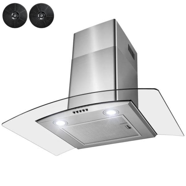 Golden Vantage 30 In Convertible Wall Mount Range Hood With Leds Push Control And Carbon Filters In Stainless Steel Rh0454 The Home Depot