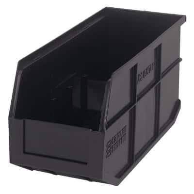 Stackable Shelf 10-Qt. Storage Tote in Black (6-Pack)