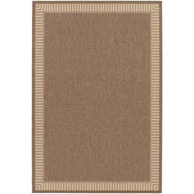 Recife Wicker Stitch Cocoa-Natural 9 ft. x 13 ft. Indoor/Outdoor Area Rug