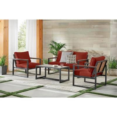 West Park 4-Piece Black Aluminum Outdoor Patio Conversation Set with Sunbrella Henna Red Cushions