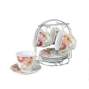 Coffee Cups On Metal Stand-Pink Floral (Set of 4)