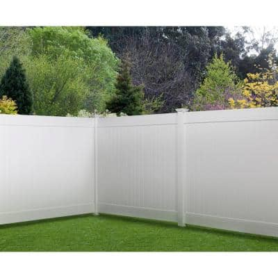 5 in. x 5 in. x 8 ft. White Vinyl Routed Fence Corner Post