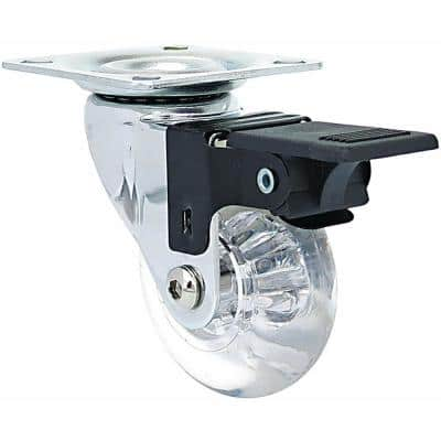 2 in. Mini-Jewel Swivel Caster with Brake and 110 lbs. Load Capacity (4-Pack)