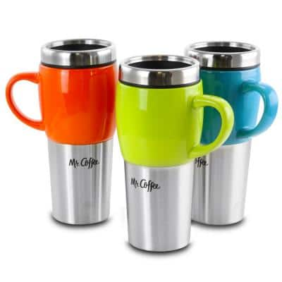 Traverse 16 oz. Red, Blue and Green Stainless Steel and Ceramic Travel Mug and Lid (Set of 3)