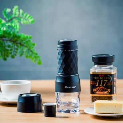 1-Cup Black Espresso Machine with 20-Bar Manual Espresso Maker Capsule
