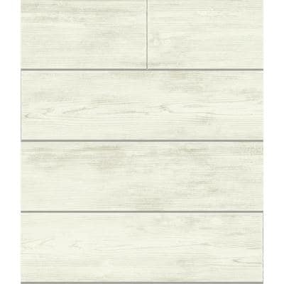 Shiplap Gray Floral Paper Pre-Pasted Strippable Wallpaper Roll (Covers 56 Sq. Ft.)
