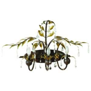 New Plantation Collection 3-Light Maple with Oxido Highlight Bathroom Vanity Light with Faceted Crystals