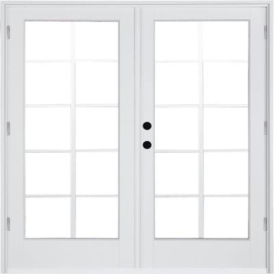 60 in. x 80 in. Fiberglass Smooth White Right-Hand Outswing Hinged Patio Door with 10-Lite GBG