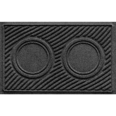 Dog Bowl Wave 18 in. x 27 in. Charcoal PET Polyester Pet Mat