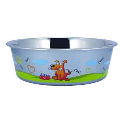 Large Stainless Steel Sneaky Dog Design Fusion Bowl