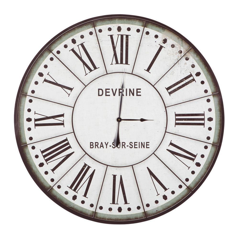 Yosemite Home Decor Devrine Series Green White Oversized Wall Clock Clkb1404172 The Home Depot