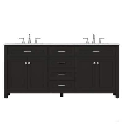 Norwalk 72 in. W x 34.2 in. H x 22 in. D Bath Vanity in Espresso with Marble Vanity Top with White Basin