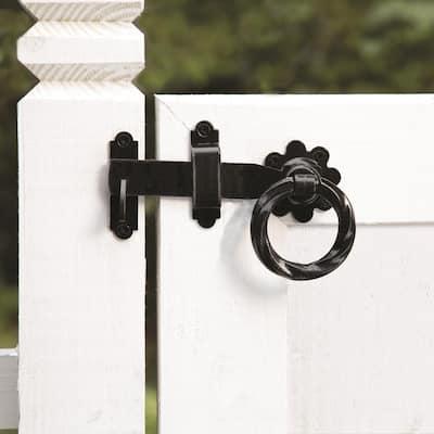 6 in. Black Heavy Duty Decorative Gate Ring Latch