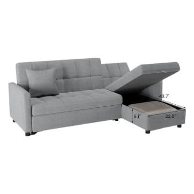 80.71 in. Light Gray Cotton Reversible Sectional Sofa with Sleeper Twin Size Sofa Bed