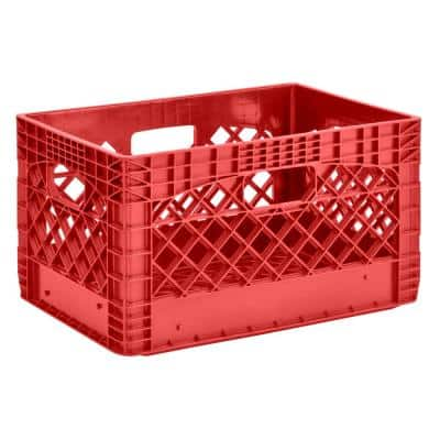 11 in. H x 13 in. W x 19 in. D Plastic Storage Milk Crate in Red (3-Pack)