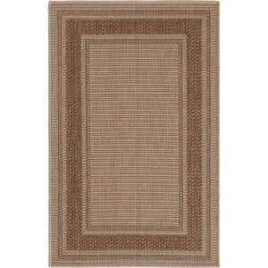 Trafficmaster Brown Border 2 Ft 7 In X 4 Ft Accent Rug 1602ue35h 105n The Home Depot