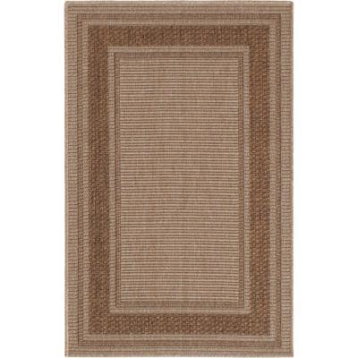 Brown Border 2 ft. 7 in. x 4 ft. Accent Rug