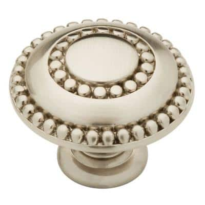 Double Beaded 1-3/8 in. (35mm) Satin Nickel Round Cabinet Knob