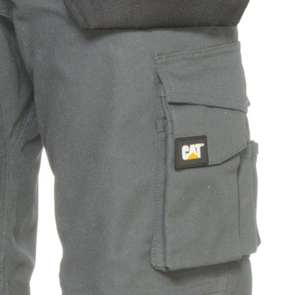 Caterpillar Trademark Men S 44 In W X 34 In L Grey Black Cotton Polyester Canvas Heavy Duty Cargo Work Pant C172x 079 44 34 The Home Depot
