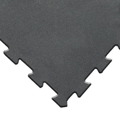 ReUz 0.24 in. T x 1.6 ft. W x 1.6 ft. L Black Rubber Flooring Tiles (11 sq. ft.) (4-Pack)