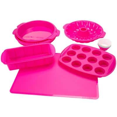 18-Piece Pink Assorted Silicone Bakeware Set