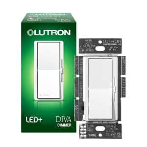 Single-Pole or 3-Way Diva LED+ Dimmer Switch for Dimmable LED, Halogen and Incandescent Bulbs, White